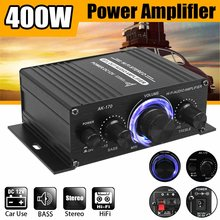 AK170 Hifi 12V Car Amplifier Home Stereo Subwoofer Amplifier Sound Speaker LED Display digital audio processor Auto Music Player