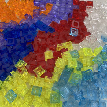 100g/lot 1X1 Thin Brick Small Particles Transparent Parts Compatible with known brand two-Dimensional Code toys for children