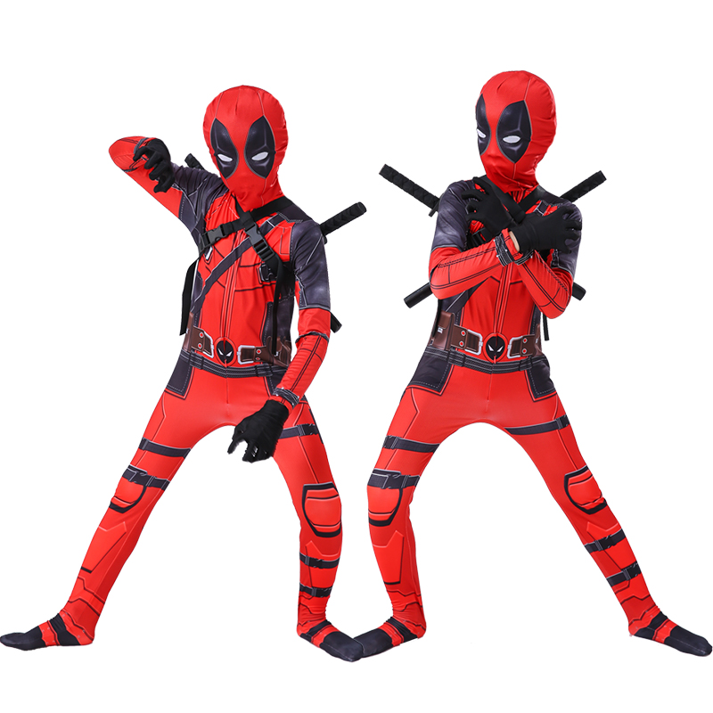 Kids Deadpool Costume Superhero Jumpsuit With Mask Full Bodysuit Costumes Masquerade For Kids Boys Girls