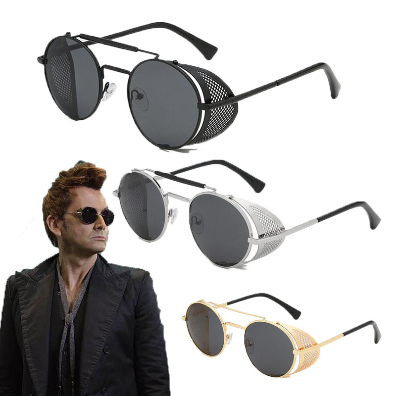 Sunglasses Devil Good-Omens Steampunk Men Cosplay Crowley Props Round Retro Metal Tennant title=
