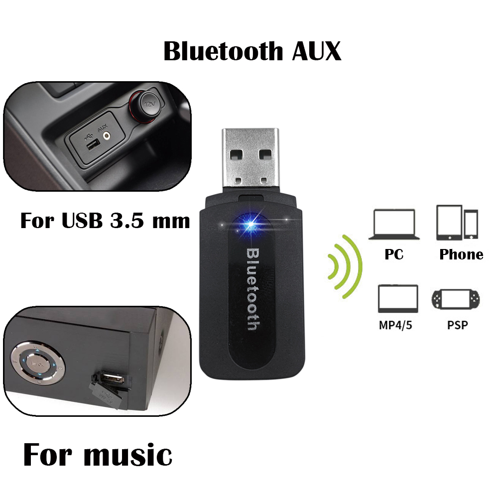 aux Bluetooth 3.5mm USB Wireless Car Audio Receiver A2DP Music Receiver Adapter for Android/IOS Mobile Phone Bluetooth Car Kit