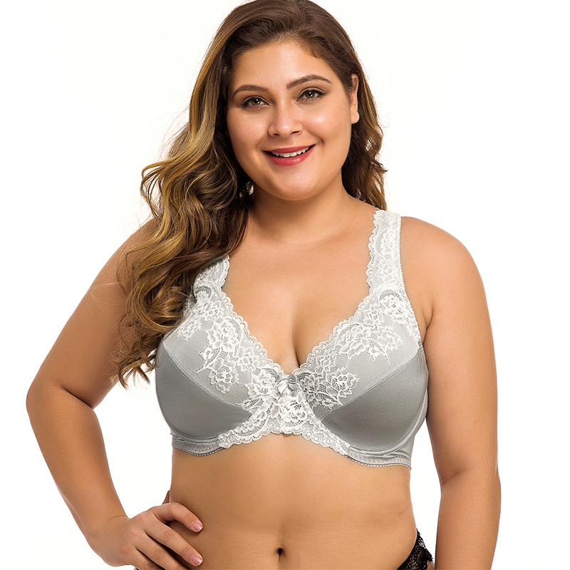 Plus Size Womens Lace Bra Lager Bosom Underwired Bralette Sexy Lingerie 34 36 38 40 42 44 46 48 50 52 54 DDD F FF G GG H Cup