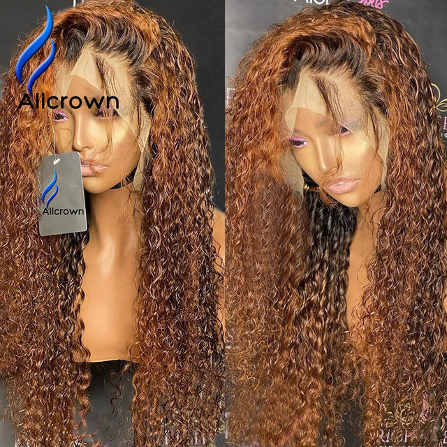 ALICROWN 360 Lace Front Curly Human Hair Wigs For Women Brazilian Hair Bleached knots Non Remy Colored Hair 250% Density