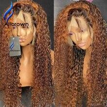 Alicrown 360 レースフロントカーリー人間の毛のかつらブラジルの髪の漂白ノット非レミー色の髪 250% 密度