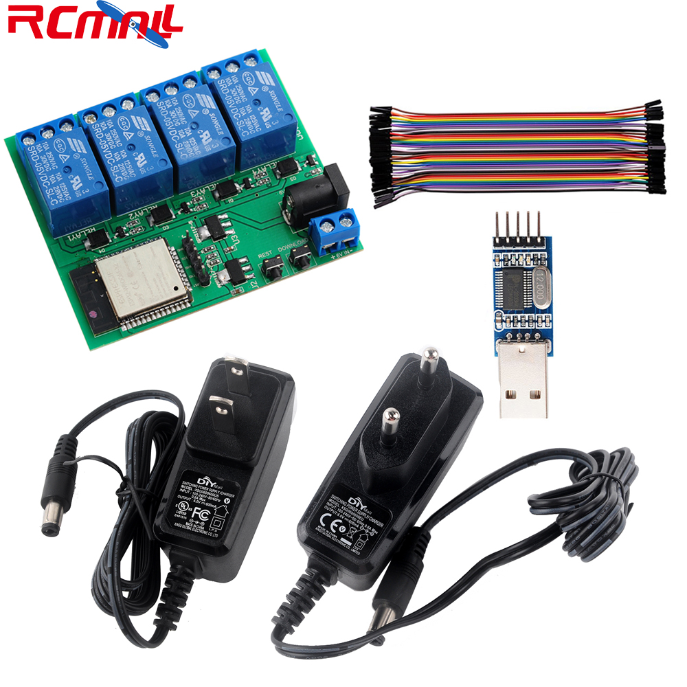 ESP32S 4 Channel Wifi Bluetooth Relay Module/USB To TTL /Female To Female Cable/DC6V 0.6A 600mA Power Adapter EU/US Plug RCmall