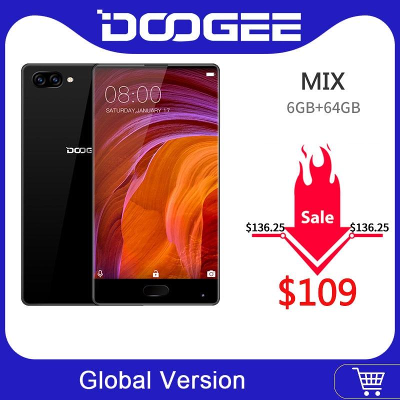 100% Original DOOGEE MIX Smartphone Android 7.0 double caméras 5.5 pouces AMOLED MTK Helio P25 Octa Core 6GB + 64GB LTE 3380mAh 16.0MP