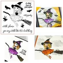 Witch Girl On Magic Broom Clear Stamps For DIY Card Making Kids Transparent Silicone Stamp New 2019