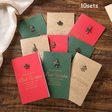 10sets Birthday Card 3D Handmade Retro Hot Stamping Creative Metal Fathers Day Gift with Envelope Greeting