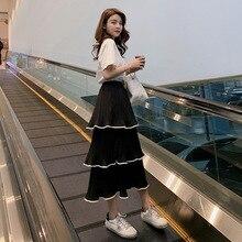 Летняя новая стильная женская одежда в Корейском стиле плиссированная шифоновая юбка женское платье-торт средней длины с высокой талией F5940