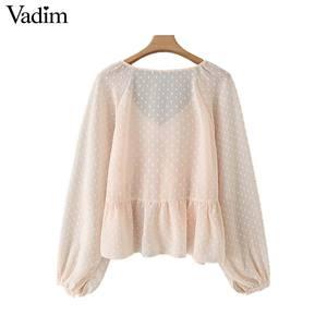 Image 2 - Vadim mujer puntos diseño Blusa con volantes cuello en V manga larga linterna camisa mujer casual elegante sólido blusas LB378