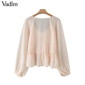 Image 2 - Vadim женская блузка в горошек с оборками, v образный вырез, длинный рукав фонарик, Женская Повседневная элегантная шикарная однотонные Блузы LB378
