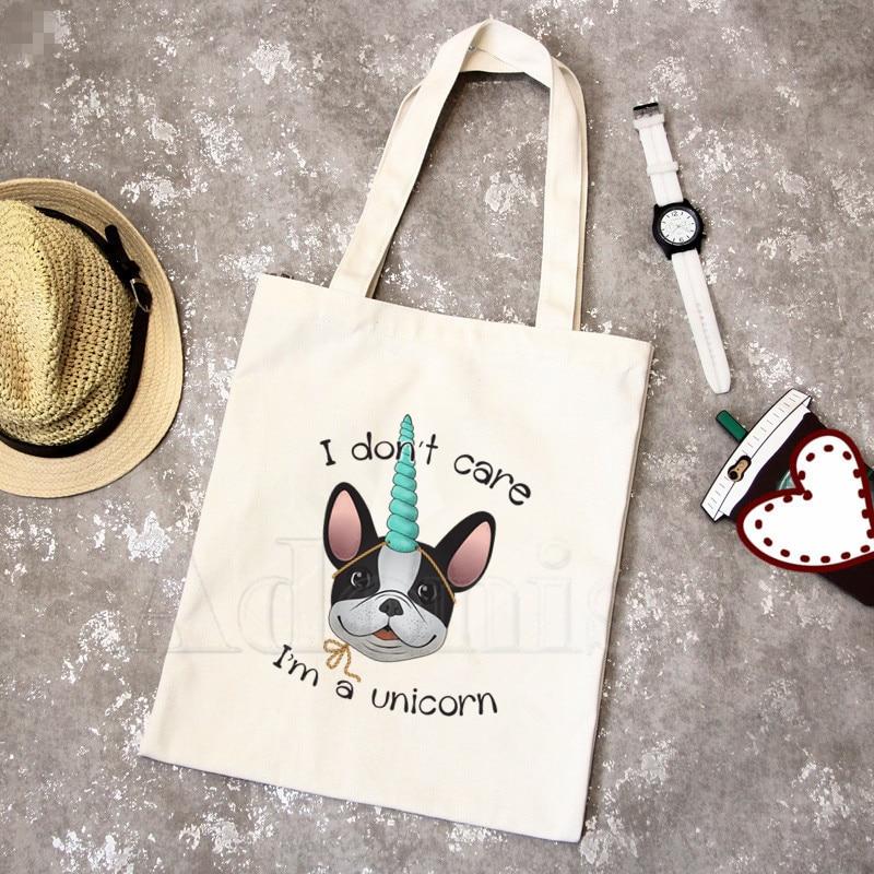 French Bulldog New Female Handbags Hot Selling Fashion Handbag Canvas Bag Tote Ladies Casual Shoulder Bag Reusable Shopping Bags