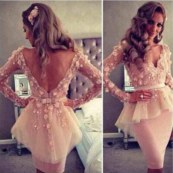 2020 Myriam Fares Blush Pink V-neck Long Sleeves Lace Flowers Sheath Backless Peplum Celebrity   Dresses     Cocktail     Dresses