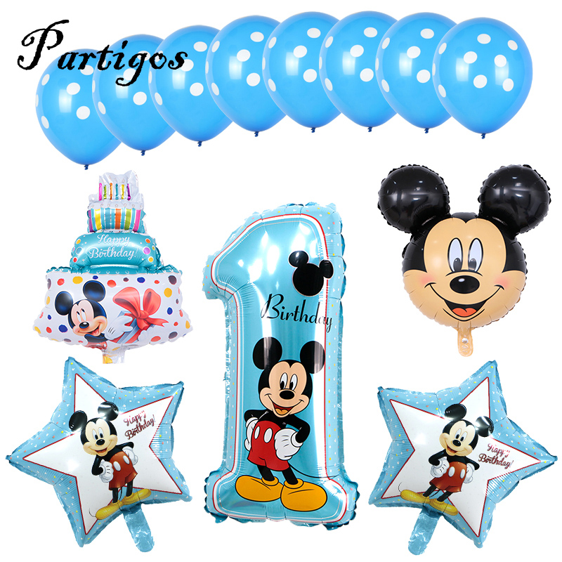 13pcs Mickey Minnie Mouse Balloons 4nd Birthday Number Party Decor Supplies Foil Party Supplies Home Garden