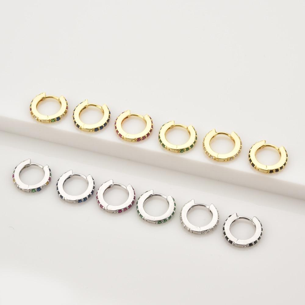 ANDYWEN 925 argent Sterling clair petit 7mm Huggies femmes mode luxe cristal cerceaux Piercing bijoux 6