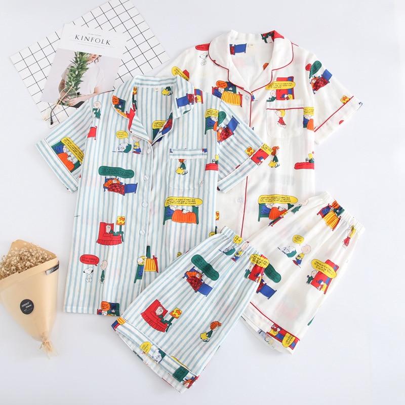 New Ladies 100% Cotton Short-sleeved Ladies Pajamas Suit Shorts Cute Cartoon Printing Japanese Style Simple Pajamas Home Service