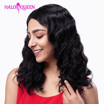 HALOQUEEN ciało koronkowa fala przodu peruki z ludzkich włosów brazylijski Remy włosy średniej długości peruki pre-oskubane zamknięcie koronki 13X4 przednie peruki tanie i dobre opinie Remy Ludzki Włos Ciało fala Średnia wielkość Body Wave Natural color Medium Brown 13X4 Lace Front wigs Remy Hair 100 Human Hair