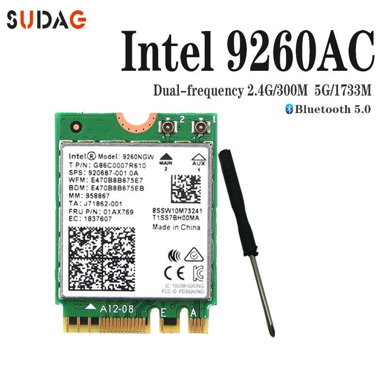 1730 Мбит/с Беспроводной 9260NGW Wi-Fi сетевой карты для Intel 9260 AC 2,4 г/5 ГГц NGFF 802.11ac Wi-Fi Bluetooth 5,0 для ноутбук