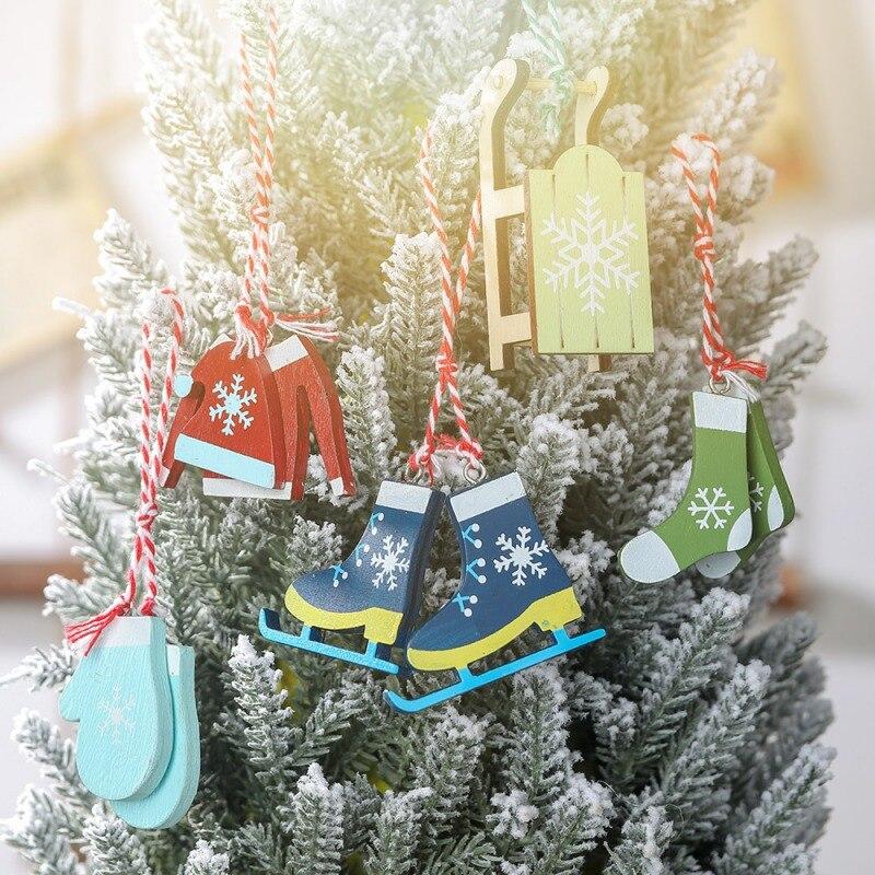 Cute Wooden Tassels Skiing Angel Doll Pendants Hanging Xmas Decor Children Gift