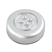 4 LED Touch Control Night Light Round Lamp Under Cabinet Clo