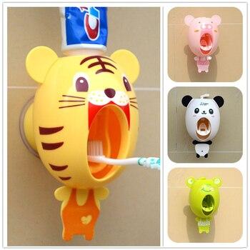 Cartoon Child Toothpaste Squeezer Bathroom Accessories Set Automatic Toothpaste Dispenser Suction Sucker Toothbrush Holder Bath