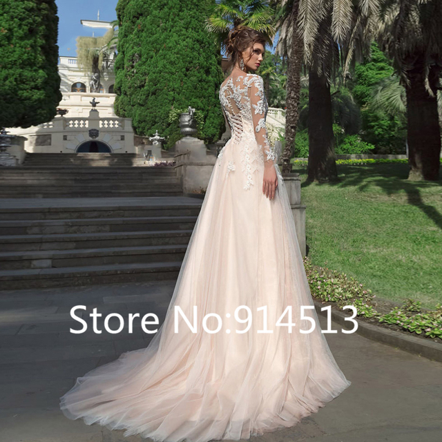 Long Sleeves Tulle Wedding Dresses A Line Lace Appliques Bridal Wedding Gowns Lace Up Vestido De Noiva Back Button Floor Length 2