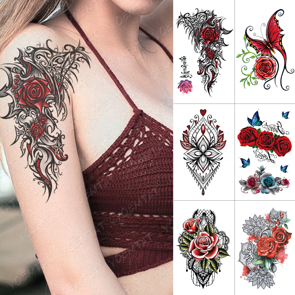 Waterproof Temporary Tattoo Sticker Rose Totem Flash Tattoos Butterfly Lace Flower Body Art Arm Water Transfer Fake Tatoo Women