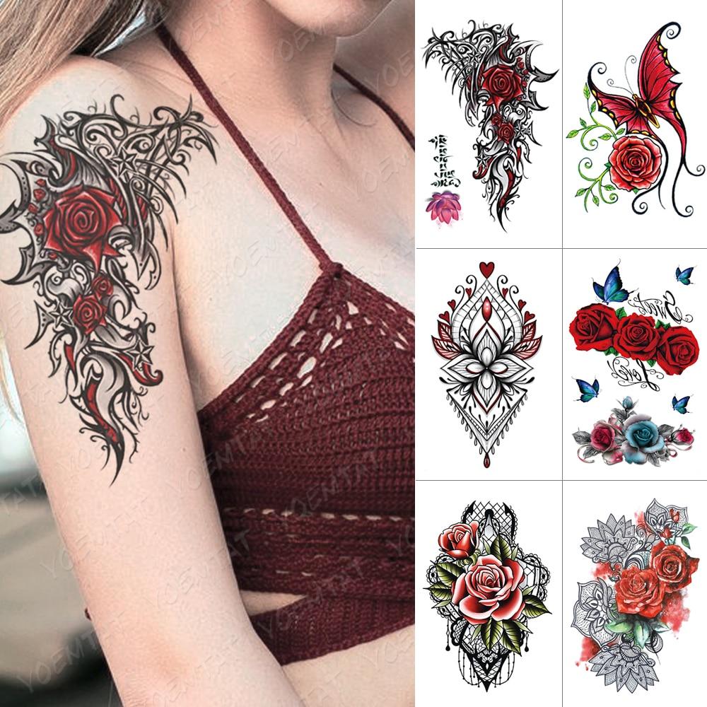 Waterproof Temporary Tattoo Sticker Rose Totem Flash Tattoos Butterfly Lace Flower Body Art Arm Water Transfer Fake Tatoo Women