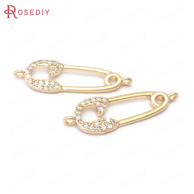 (38881)6PCS 24K Champagne Gold Color Brass and Zircon 2 Holes Pin Shape Connect Charms Pendants Jewelry Making Diy Accessories