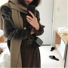 Женский Повседневный свитер винтажный вязаный клетчатый джемпер