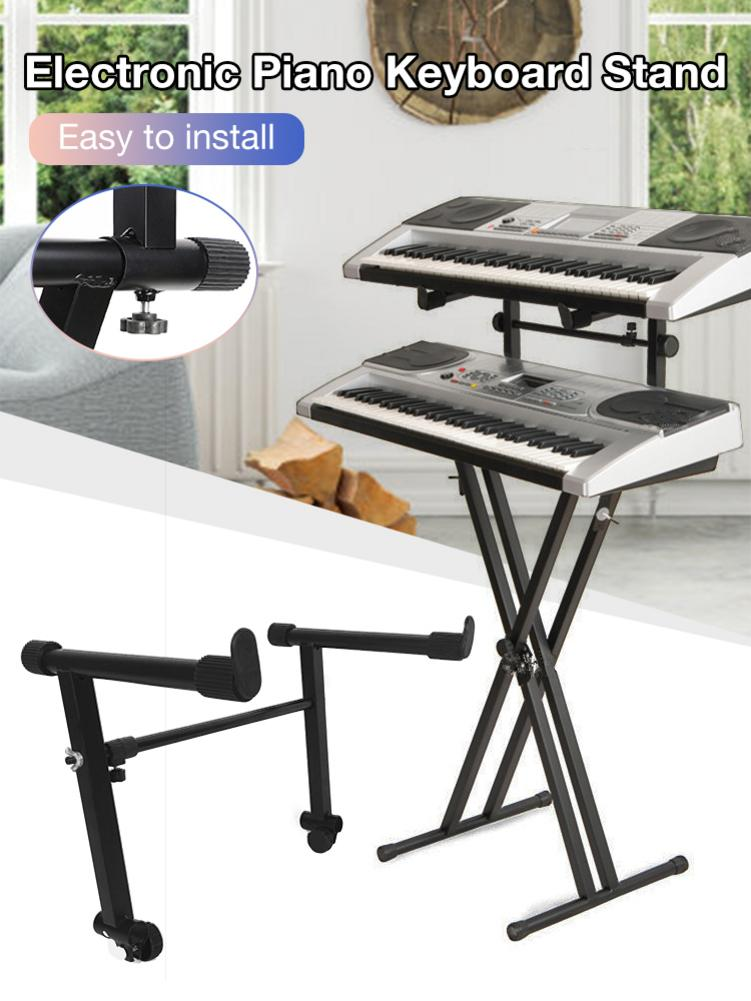 ABZB-Adjustable Black Heightening Electronic Piano Rack Stand Keyboard Support Holder