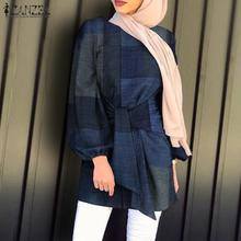 Blouse Kanftan Muslim Fashion Women ZANZEA Spring O-Neck Asymmetrical Lace-Up Blusas