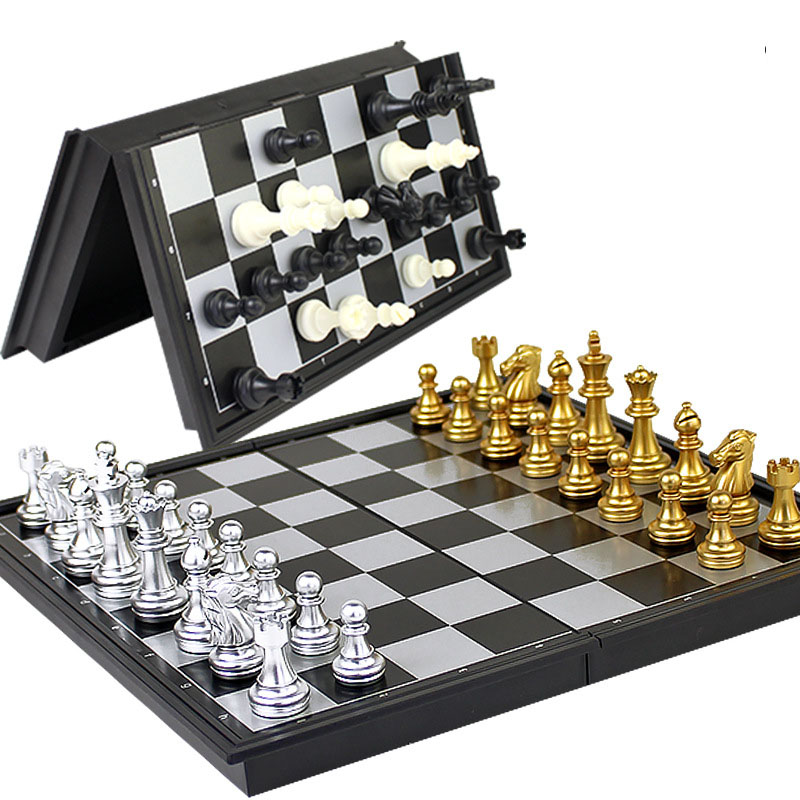 Chess Set Pieces Game Medieval Chess Set With Chessboard 32 Chess Pieces With Chessboard Gold Silver Magnetic Chess Set WPC