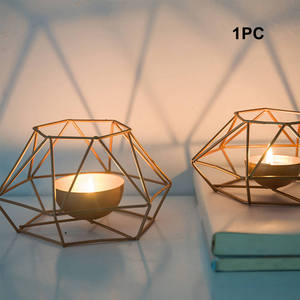 Stand-Props Candle-Holder Structure Iron Romantic-Table Wedding-Decor Geometric-Shape