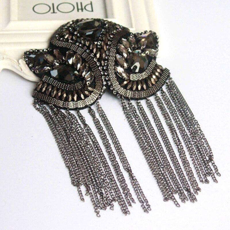 Image 3 - 2pcs Classic Handmade Metal Tassel Epaulette Jewelery Tassel Big Shoulder Brooch Epaulet Epaulettes Spikes Blazer AccessoriesBrooches   -