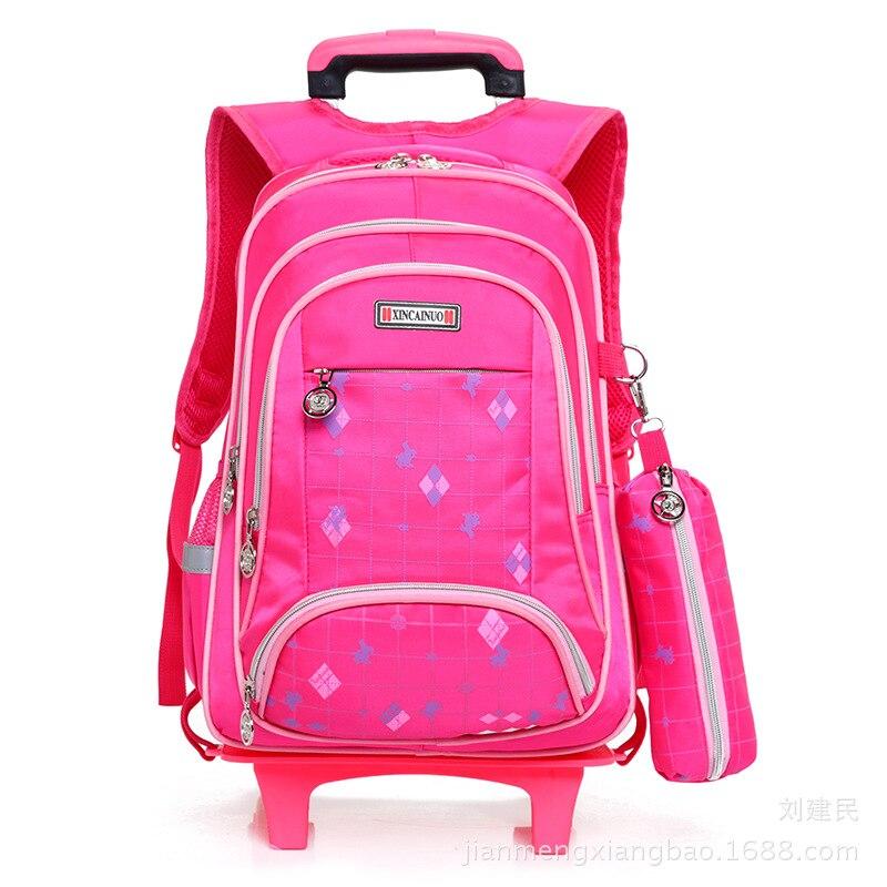 Young STUDENT'S Two-Wheel Trolley Bag 1-3-5 Grade BOY'S And GIRL'S Kindergarten School Bag Backpack