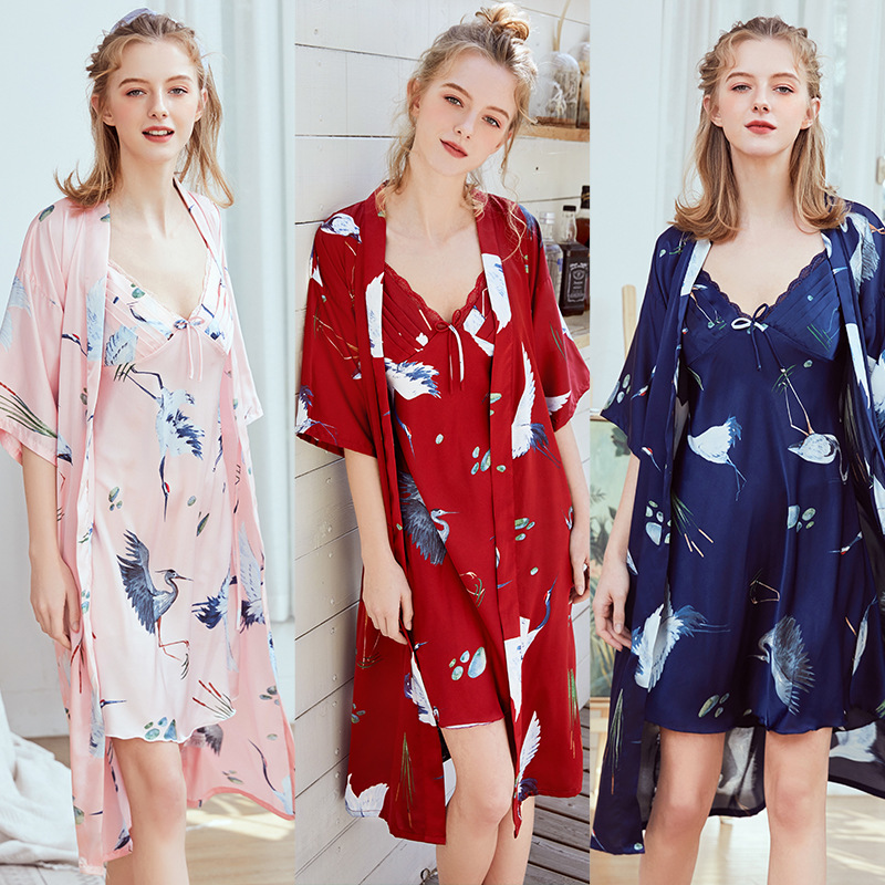 New  silk pajamas women's long sling robe home clothes set WP1065 + DQ1138