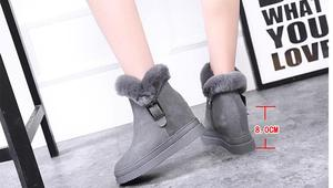 Image 2 - Womens Snow Boot Genuine Leather Female Ankle Boots 2019 Winter Fashion Buckle Woman Snow Boots Women High Heels Winter Shoes