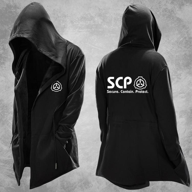 Casual Hoody Men SCP Foundation Design Cosplay Mens Hoodie Trench Long Coat Cosplay Costume Sweatshirt Tops