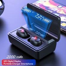 Cuffie Wireless TWS Hifi Stereo Super Bass Bluetooth V5.0 auricolare con microfono Sport auricolari cuffie per telefono con scatola di ricarica