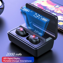 TWS Drahtlose Kopfhörer Hifi Stereo Super Bass Bluetooth V 5,0 Kopfhörer Mit Mic Sport Earbuds Headset für Telefon Mit Ladegerät box