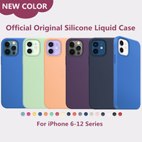Custodia in Silicone ufficiale originale per iPhone 12 Pro XS Max XR X 7 8 Plus custodia per iPhone 12 Mini 11 Pro Max SE 2020 scatola completa