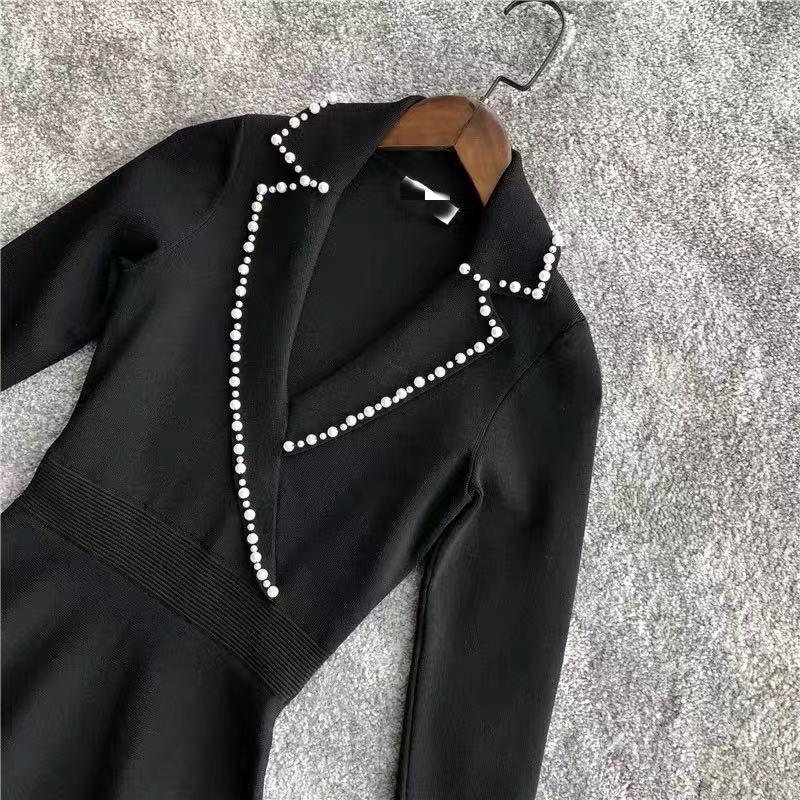 2019 Otoño/Invierno nueva perla solapa manga larga cuello pico delgado vestido de punto oficina señora mujeres Mini vestidos-in Vestidos from Ropa de mujer    3
