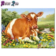Алмазная картина в виде животных трава для крупного рогатого