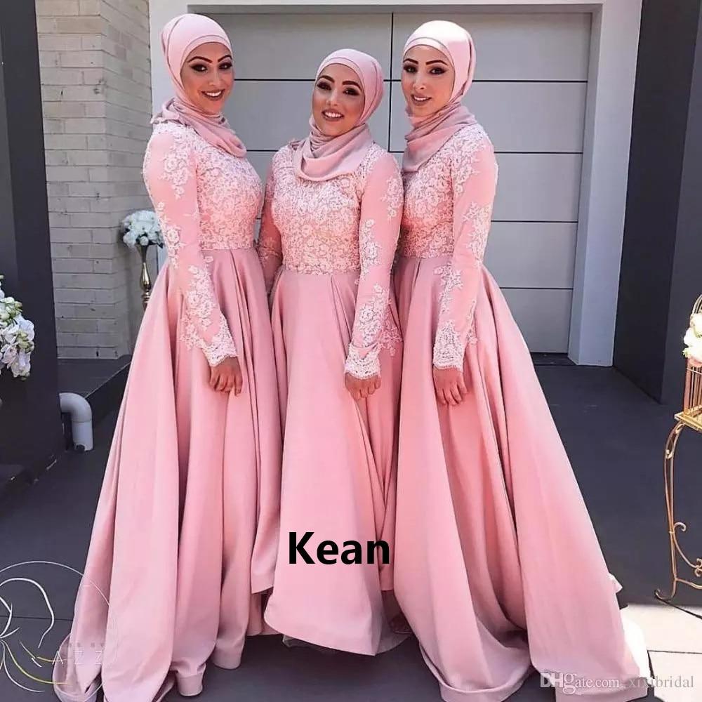 Muslim Bridesmaid Dresses Satin Applique Scarf  Simple Muslim Wedding Party Dress Under 50 Long Wedding Party Dresses