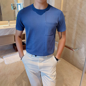 Image 3 - Мужская футболка с коротким рукавом, Повседневная облегающая Трикотажная футболка с круглым вырезом, размеры 3XL, 2020