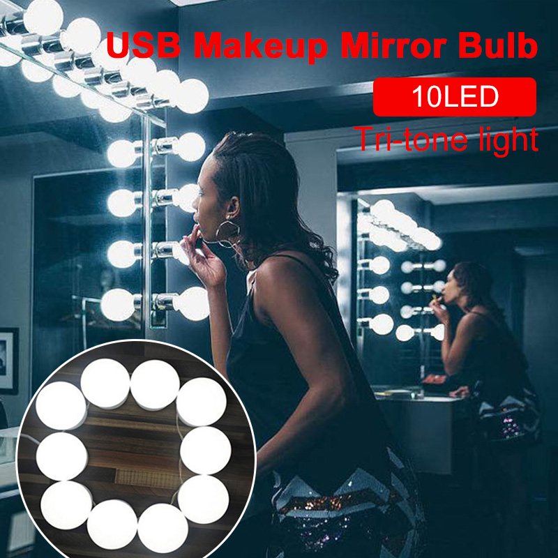 Beauty Vanity Mirror Lights 3Colors Light LED Bulb Glamour Hollywood Style Cosmetic LED Mirror Lights 5V 10Bulb Dressing Room