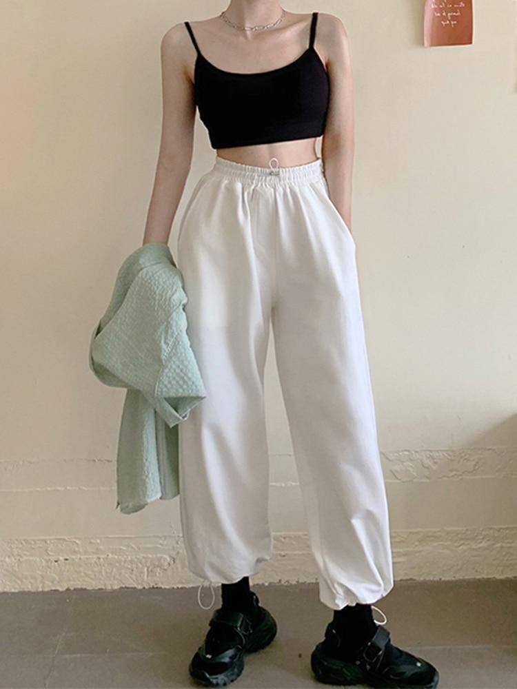 Woman Pants Fashion Trousers Streetwear Basic Loose Comfort Korean-Style High-Waist Casual