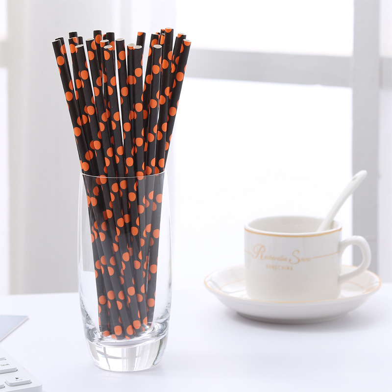 04-Black Background Yellow Circle Halloween Decoration Straw Disposable Biodegradable Straw 25 Pack