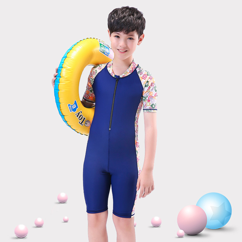 CHILDREN'S Swimwear One-piece Big Kid Set Plus-sized Fat Baby BOY'S 8-12-15-Year-Old Teenager Swimwear